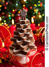 Christmas tree - Chocolate Christmas tree on the festive...