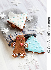 Gingerbread cookies,mitten and snowflakes