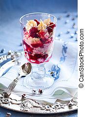 Eton Mess with cranberry,meringue and cream for holiday