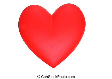 Red heart on white on a withe isolated background with copy...