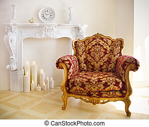 Luxurious vintage armchair - Luxurious vintage red and gold...