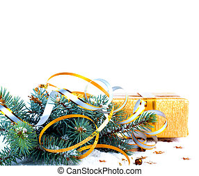 Christmas tree branch with gift in red box on white background i