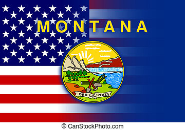USA and Montana State Flag