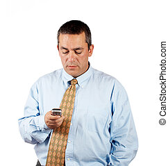Businessman sending sms with cell phone over a white...
