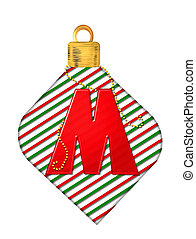 Alphabet Pinstripe Ornament M - The letter M, in the...