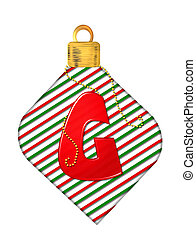 Alphabet Pinstripe Ornament G - The letter G, in the...