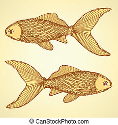 Fish cute vector background