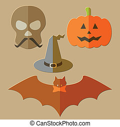 Flat scull, pumkin, hat and bat, evil Halloween background