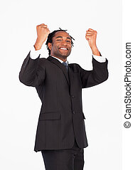 Successful businessman with raised arms