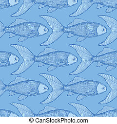 Fish cute seamless pattern in vintage style