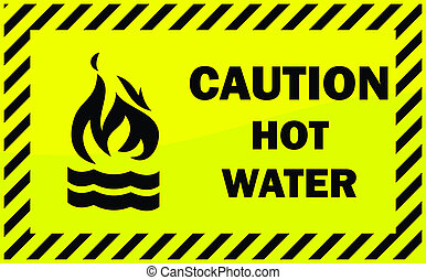 Caution hot water - Caution sign - Hot Water