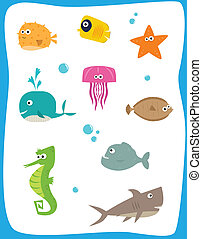Sea Creatures - Cartoon set of nine cute baby sea creatures...