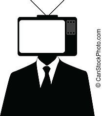 Tvset man - Vector illustration of a man with a tvset on...