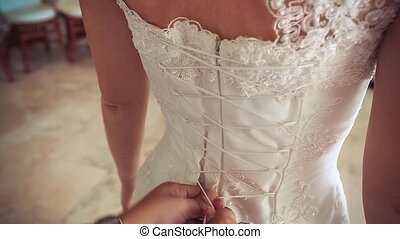 bride wears dress - Bridesmaid lace corset wedding dress on...