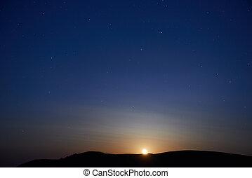 Blue dark night sky with stars - Blue dark night sky with...
