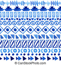 Seamless aztec pattern. - Watercolor ethnic seamless...
