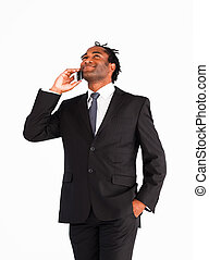Afro-american businessman talking on the phone