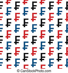 Swiss franc symbol seamless pattern on white background....