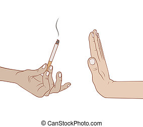 No smoking - man refuses to take the sigarette with gesture