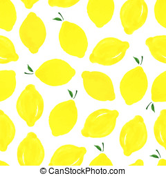 Pattern with lemons - Watercolor seamless pattern with...