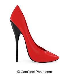 High heel red women shoes isolated on white - 3d...