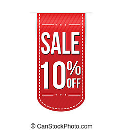 Sale 10% off banner design over a white background, vector...