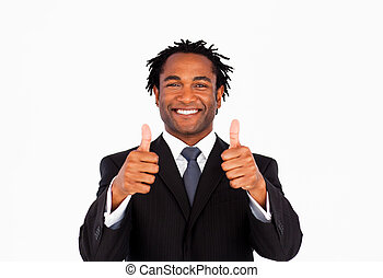 Handsome businessman with thumbs up