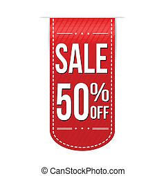 Sale 50% off banner design over a white background, vector...