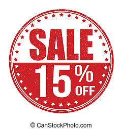 Sale 15% off stamp - Sale 15% off grunge rubber stamp on...
