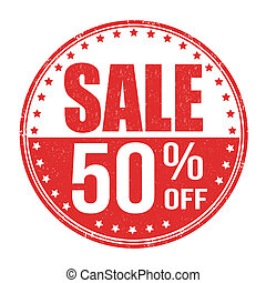 Sale 50% off stamp - Sale 50% off grunge rubber stamp on...