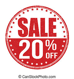 Sale 20 off stamp - Sale 20 off grunge rubber stamp on white...