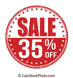 Sale 35% off stamp - Sale 35% off grunge rubber stamp on...