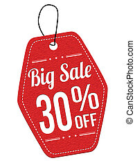 Big sale 30% off red leather label or price tag on white...