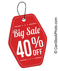 Big sale 40 off red leather label or price tag on white...
