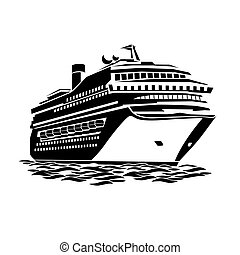 big cruise liner - stylized illustration of a large cruise...