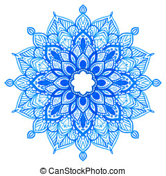 Watercolor hand drawn mandala - Watercolor hand drawn blue...