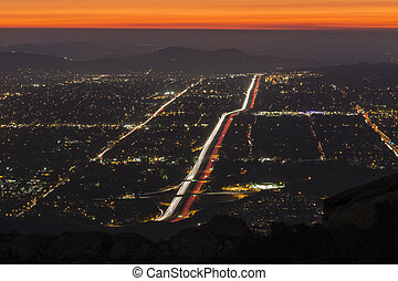 Simi Valley near Los Angeles Night - Night fall over...