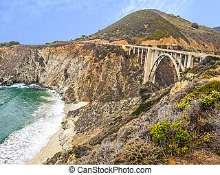 Bixby Bridge panorama as the famous landmark in Big Sur...