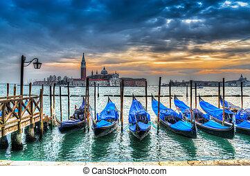 hdr gondolas - blue gondolas in Venice, Italy.