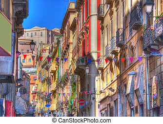 hdr street - old street in Cagliari. Hdr tone mapping