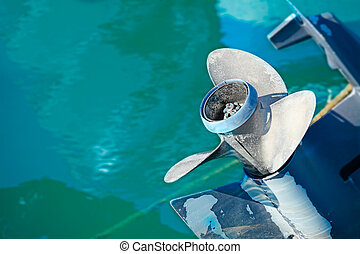 outboard blades - close up of an outboard engine