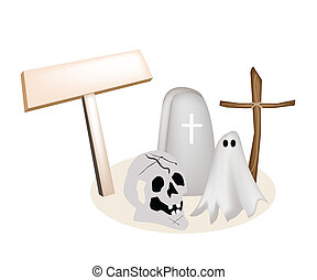 Illustration of Halloween Items with Wooden Placard - An...