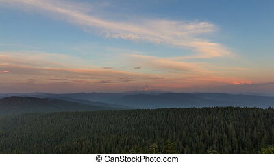 Time Lapse of Sunset from Larch Mt - Time Lapse Movie of...