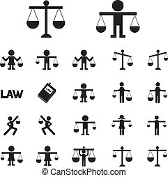 scales justice icon vector set
