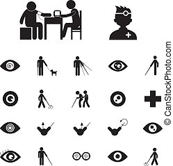 blind man and hospital icon set