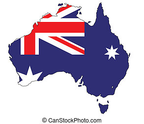 Australia Flag MAp - Outline map of Australia and national...