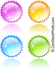 Star bursting icons isolated on white background