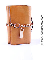 Yellow leather purse tied with the chain
