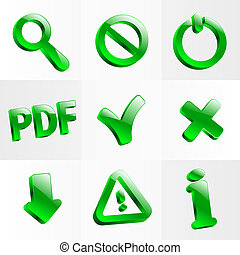 set glass icons button stop optical