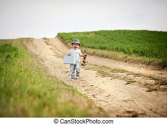 Little boy walking in nature - Little boy walking on the...